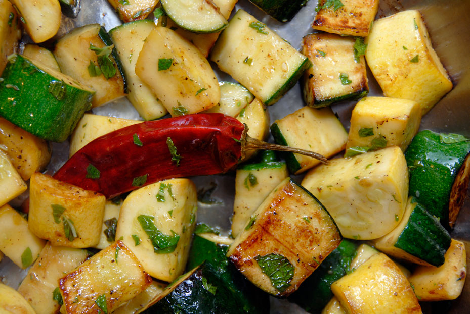 SAUTED ZUCCHINI AND SUMMER SQUASH WITH GRILLED LAMB SAUSAGE AND ...